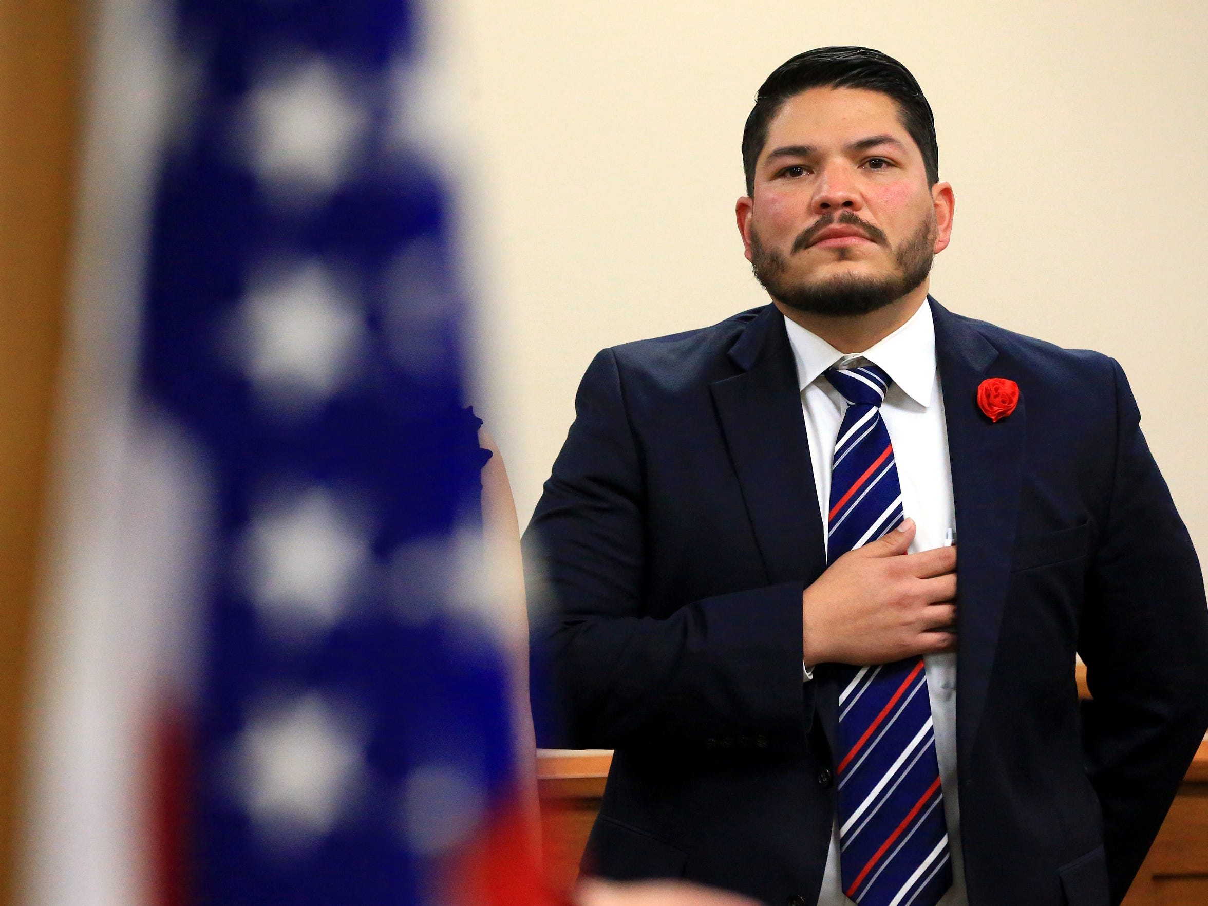 Nueces County District Attorney Mark Gonzalez stands