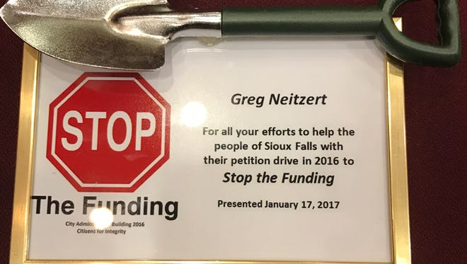 Councilors Greg Neitzert, Theresa Stehly, Marshall Selberg, Pat Starr and Christine Erickson were recognized for their work to stop the planned city administration building from going through by Bruce Danielson's group, Stop the Funding, Tuesday evening at Carnegie Town Hall.