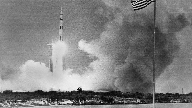 The huge Saturn rocket carrying the Apollo 13 spacecraft lifts off at Cape Kennedy, Fla., April 11, 1970.