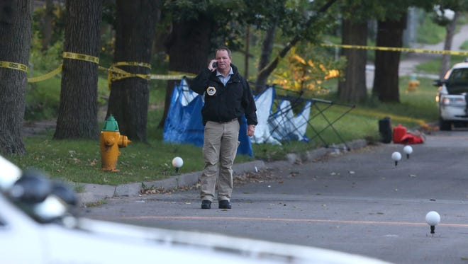Police are investigating after two bodies were found early Friday, Sept. 11, 2015, near 22nd Street in Des Moines.