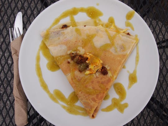 The savory crêpe combinations are not to be missed, including this crepe with Manchego, chorizo and a flavorful house-made salsa Verde.