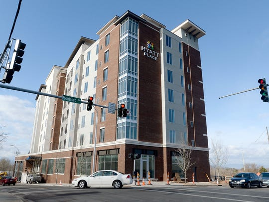 The new Hyatt Place hotel at the corner of Haywood