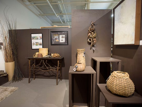 Pieces by sculptural basketry artist Matt Tommey are on display inside his gallery and studio at the Riverview Station.