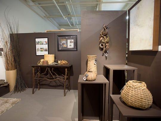 Pieces by sculptural basketry artist Matt Tommey are