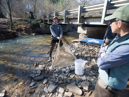 Preston Welker and Devi Sharp take out the kick net to use for sampling Tuesday March 1 at Reems Creek in Weaverville.