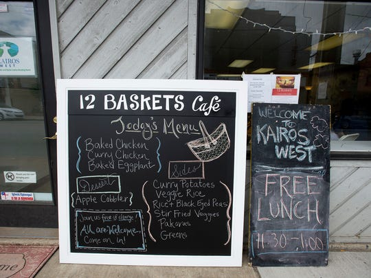 12 Baskets in West Asheville is a new cafe that receives its food through donations from local restaurants to provide a free meal for all who enter.