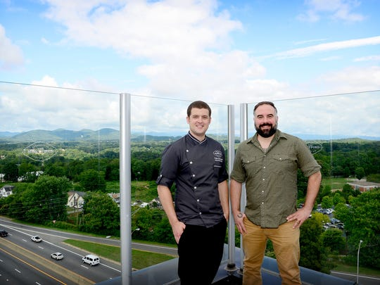 Executive chef Philip Bollhoefer, left, and beverage manager Paul Peffer are the talent behind The Montford, a new rooftop bar opening at the top of the Hyatt Place Asheville Downtown. The Montford will serve cocktails, local beer and creative, house-made bar snacks.