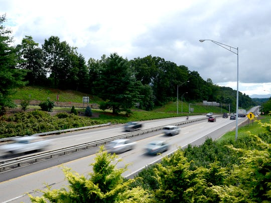 Traffic is seen on I-240 in West Asheville from the