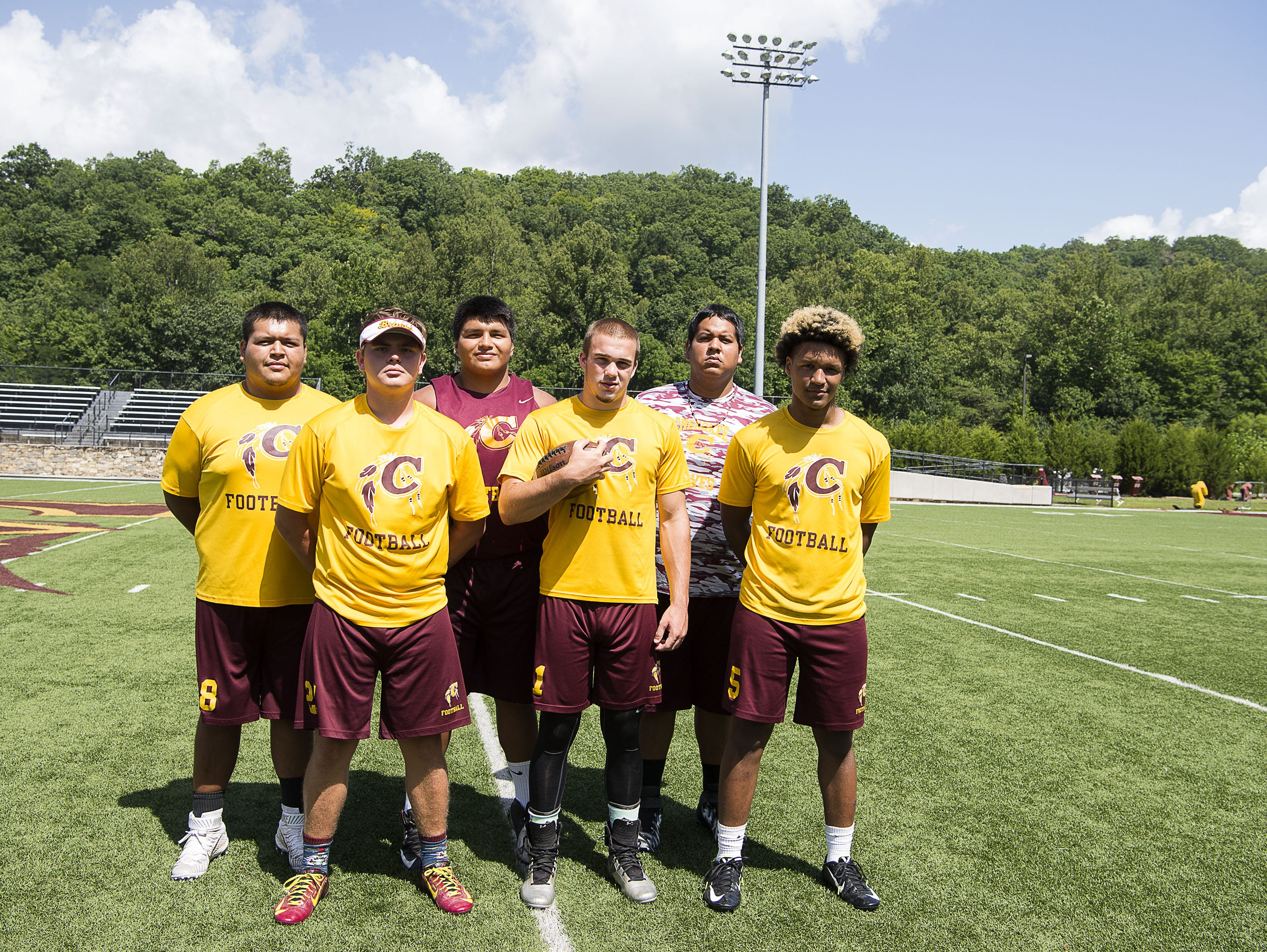 Cherokee football players Jay Swimmer, Byron Locust, Kendall Driver, Dodge Crowe-Moss, Ty Mintz and Isaiah Evans.