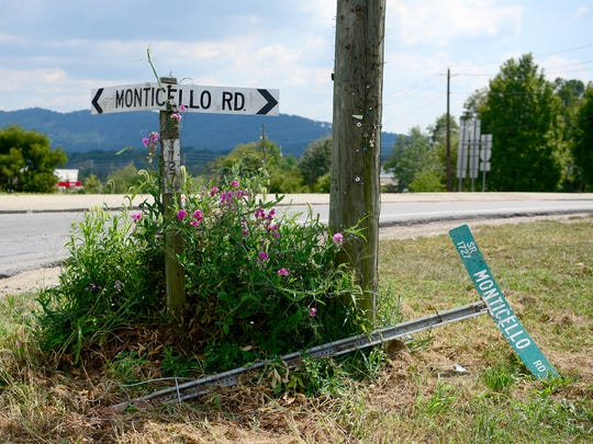 A unique road sign for Monticello Road replaces a damaged standard one in Weaverville.