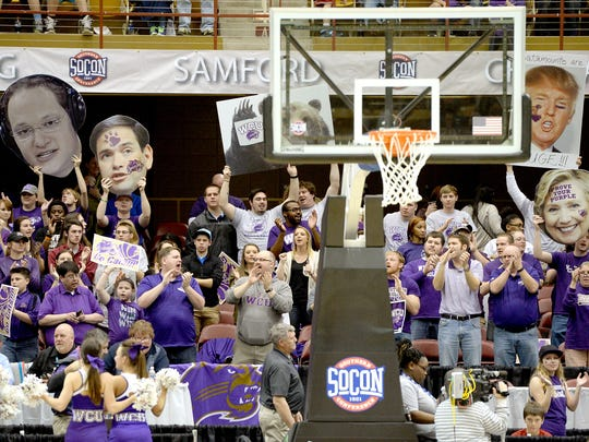 Western carolina fans cheered during a men's game in