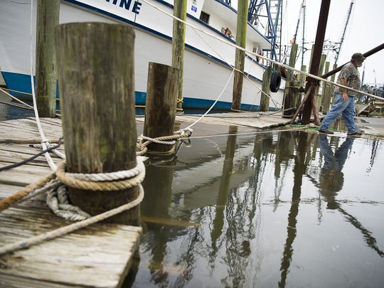 "Larry Garner, captain and owner of the 73-foot-long shrimping boat ""God's Grace,"" walks across a partially flooded dock Friday afternoon Oct. 7, 2016 in McClellanville, a small fishing community in Charleston County. Garner and other local ship owners are prepping their boats for Hurricane Matthew."