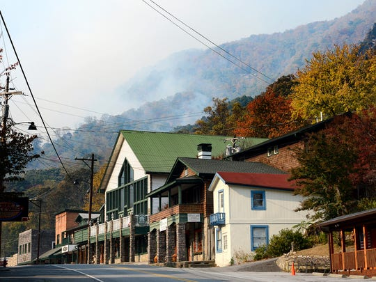 The usually bustling village of Chimney Rock is empty after a mandatory evacuation due to the Party Rock Fire which burned in the surrounding mountains on Monday, Nov. 14, 2016. It is unclear when those that were evacuated will be allowed to return to their homes. So far no structures have been damaged in the fire.