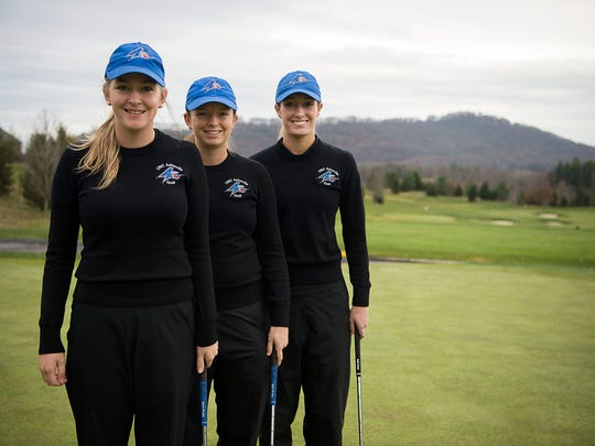 Adelyn Deery, left, Kellen Alsip, middle, and Linna Brooks, right are freshman golfers at UNC Asheville.