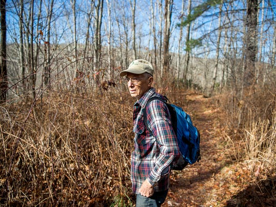 Dan Pittillo, a retired professor of botany at WCU, admires the landscape while hiking Dec. 7, 2016 in Panthertown Valley.