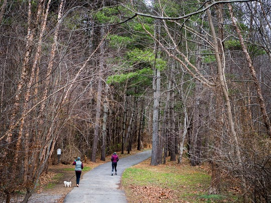 Pedestrians walk along a section of the Fonta Flora Trail that runs through Black Mountain Wednesday Jan. 4, 2017.