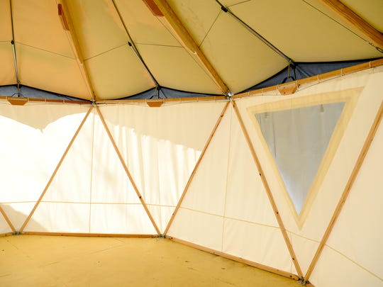 The Yomes made by Red Sky Shelters are created with a triangular framework using a series of poles made from Southern Yellow Pine. The company's largest Yome is 19 feet.