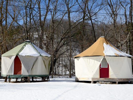 Two differently sized Yomes, a cross between a traditional Yurt and a dome structure, are set up at the Mill at Riverside where Red Sky Shelters creates and sells the structures. The company makes three sizes of structures with either 6, 7, or 8 sides.
