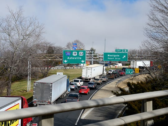 Traffic is backed up heading to I-240 East from I-26 on Jan. 20, 2017, due to an emergency situation and closing of lanes on the Bowen Bridge.