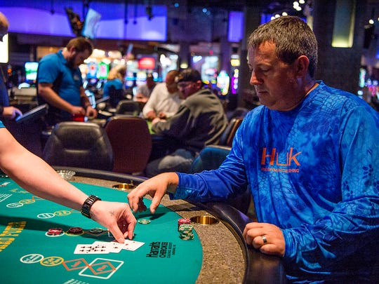 Gary Durkee, a Harrah's Cherokee regular from Anderson, SC, plays blackjack at a table Jan. 20, 2017.