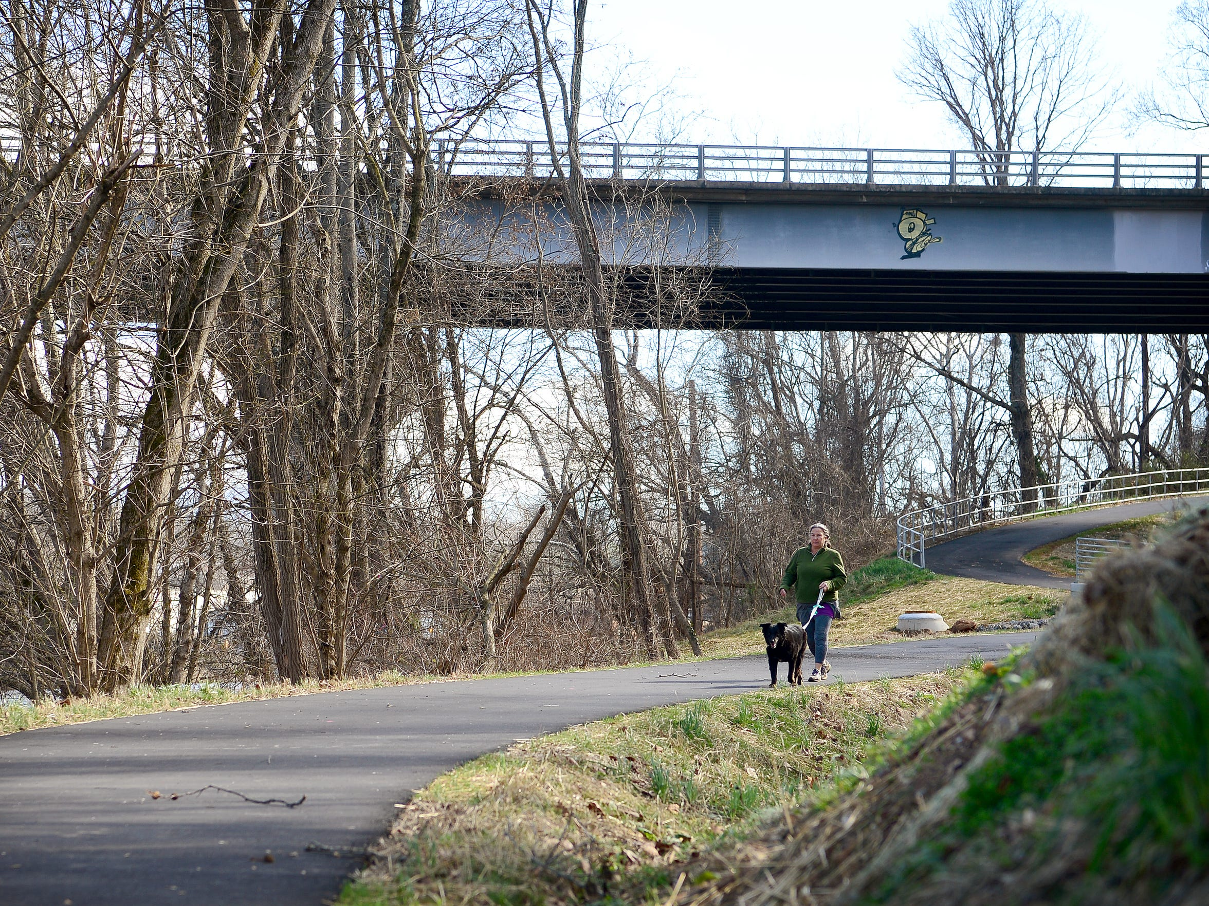 Sarah Walker walks her dog, Augie, on Jan. 24 on the new section of the French Broad River Greenway, which runs from Haywood Road to Craven Street.