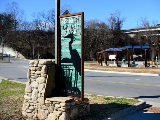 The newest section of the French Broad River Greenway starts at Craven Street in the River Arts District and runs along the river toward Haywood Road.