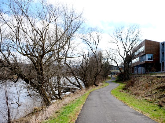 A section of the new French Broad River Greenway runs from Craven Street to Haywood Road along the river in front of the New Belgium Brewing Company in the River Arts District. The path will soon be expanded to connect with greenways running to Hominy Creek River Park in West Asheville.