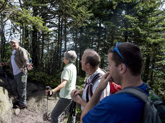 Mount Mitchell State Park more than doubled in size last year after The Conservation Fund purchased thousands of acres in the Black Mountains. Hikers, led by Jake Blood of High Peaks Trail Association, explore the new area