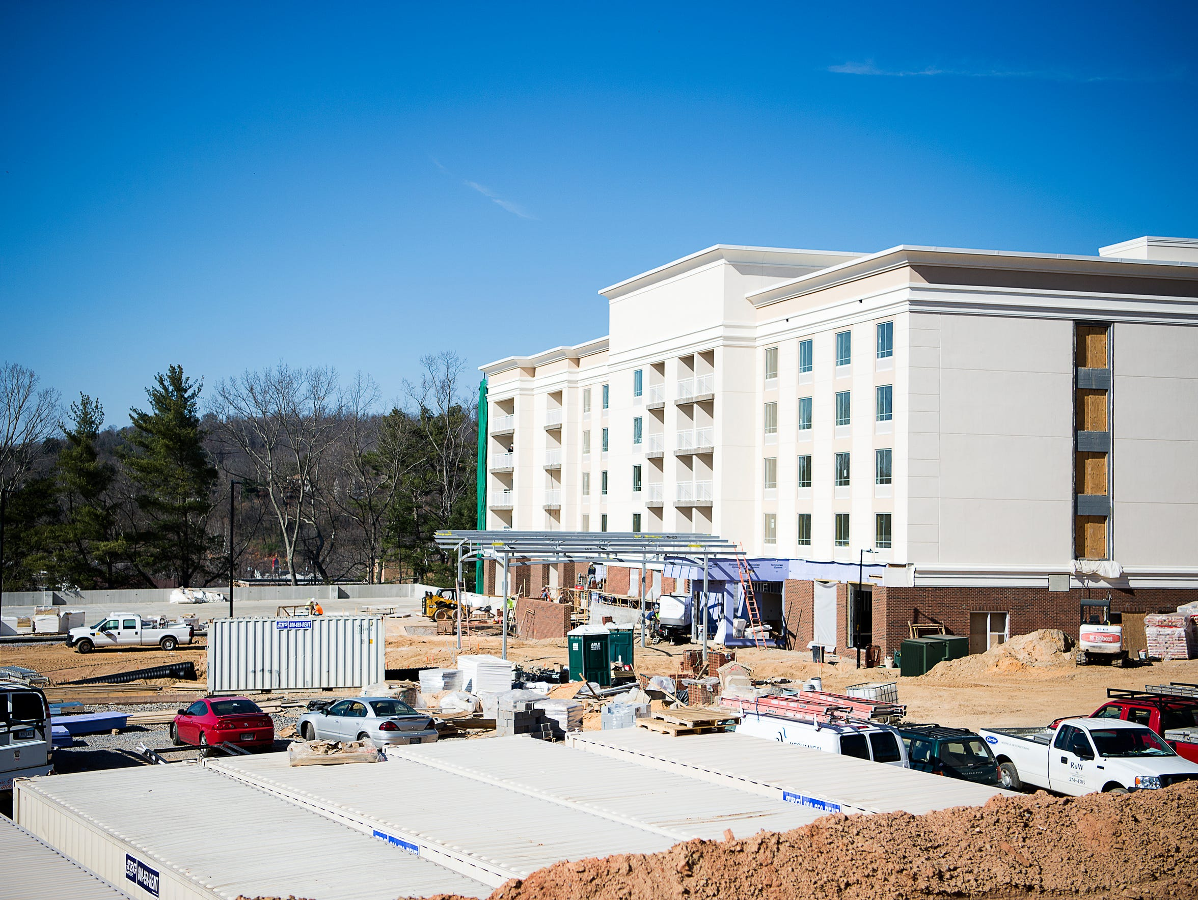 Construction on the six-story, Holiday Inn and Suites