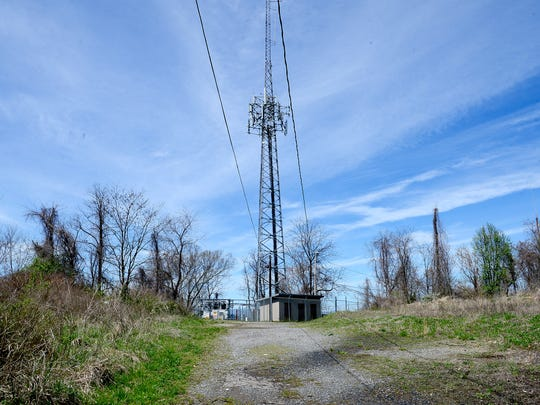 A communication tower at the top of Beaucatcher Mountain
