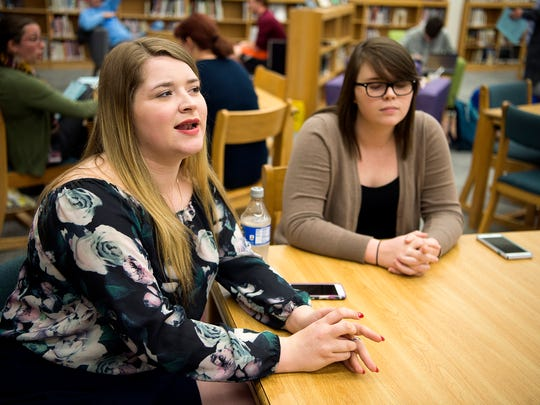 Swain County senior Kathryn Brown talks about how funding impacts her school and classes April 5, 2017 in the school's media center.