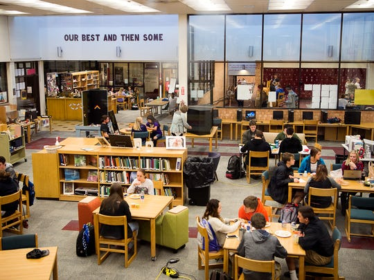 Students eat lunch in the media center April 5, 2017 at Swain County High School.