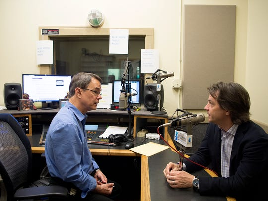 Dick Kowal chats with Asheville Symphony Director Daniel Meyer before interviewing him on the air Friday afternoon at Blue Ridge Public Radio. Kowal will be retiring after 31 years in radio.