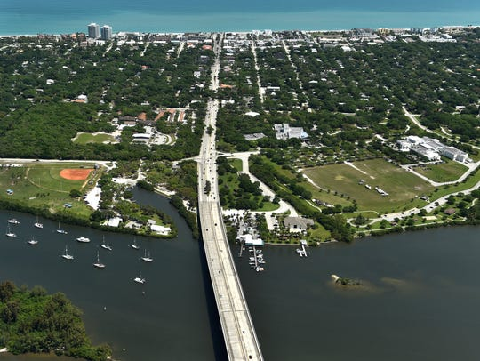 The Merrill P. Barber Bridge (foreground) in Vero Beach