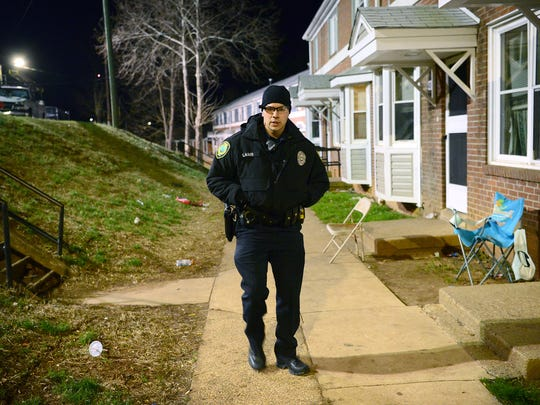 A Feb. 3, 2017 shows APD Lt. Michael Lamb patrolling Pisgah View Apartments.