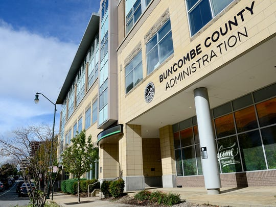 The Buncombe County Administration building on Monday,
