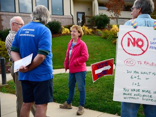 Vice Mayor Gwen Wisler campaigns outside St. Eugene
