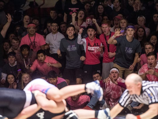 The Spring Grove student section cheers on Camden Rice during his 220-pound bout. Rice beat South Western's Tommy Morris, 4-2, Thursday, Jan. 11, 2018. The Spring Grove Rockets beat the South Western Mustangs, 43-18 during the Rockets' annual 'Take Down Cancer' match, where both teams raised more than $50,000 for the Heather L. Baker Foundation.