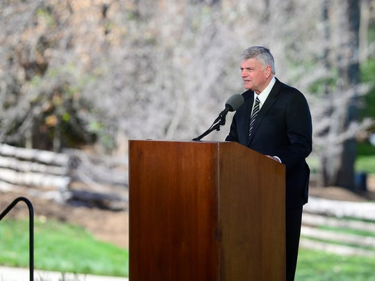 Franklin Graham, son of Billy Graham, president and CEO of Billy Graham Evangelistic Association and Samaritan's Purse, delivers a message during the private funeral service for Billy Graham in a tent outside the Billy Graham Library in Charlotte, N.C. on Friday, March 2, 2018.