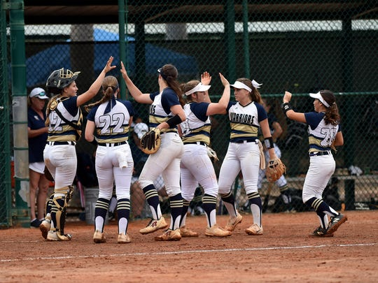 The Aucilla Christian team from Monticello celebrate together while holding their 4-0 lead over Master's Academy at the end of the top of the fourth inning of their Class 2A state semifinal game at Historic Dodgertown on Monday, May 21, 2018 in Vero Beach. Aucilla Christian won the game, 4-0.