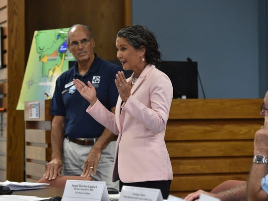 Jacqui Thurlow-Lippisch speaks to the audience after Lt. Col. Jennifer Reynolds, Deputy District Engineer for South Florida, from the U S Army Corps of Engineers, made a presentation on Lake Okeechobee and the St. Lucie River during a Rivers Coalition meeting Thursday, June 28, 2018, at the City of Stuart commission chambers. More than 100 attended the 90-minute meeting, providing an update to the public on the algae situation affecting Lake Okeechobee and the St. Lucie River.