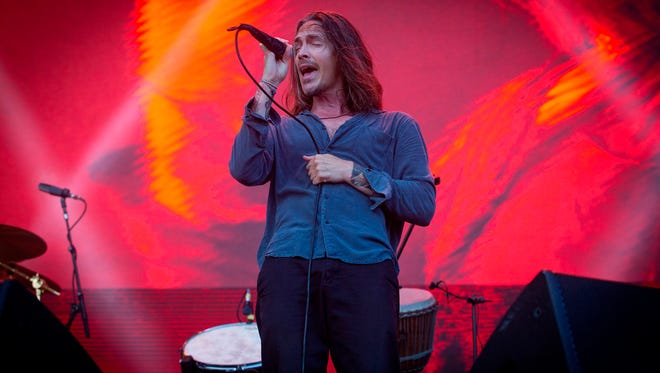 """Brandon Boyd, lead singer for the rock band Incubus, performs onstage at the 7th annual Shaky Knees Music Festival in Atlanta. Incubus will play the Ryman Auditorium on Nov. 27 during their tour marking 20 years since their breakthrough album, """"Make Yourself."""""""