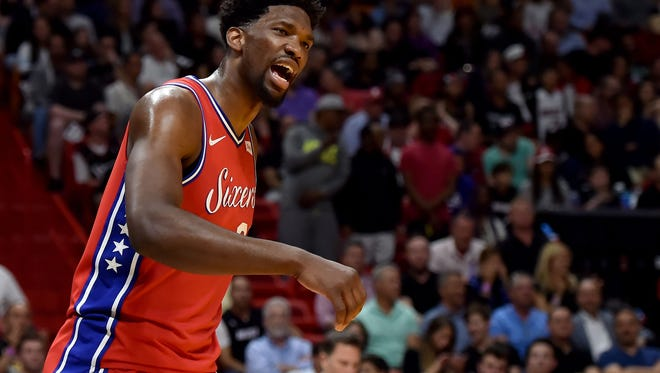 Philadelphia 76ers center Joel Embiid (21) reacts during a recent game against the Miami Heat. The center could see some time off during the final stretch of the regular season.