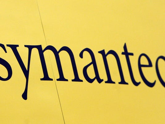 The Symantec logo is pictured at the RSA