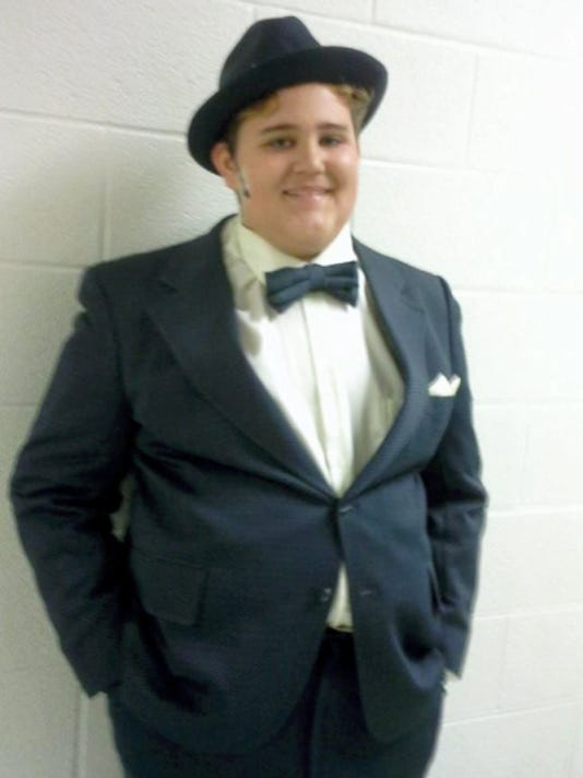 "Christian Witmer, ?14, as he appeared last summer as Nicely, Nicely in ""Guys and Dolls, Jr."""