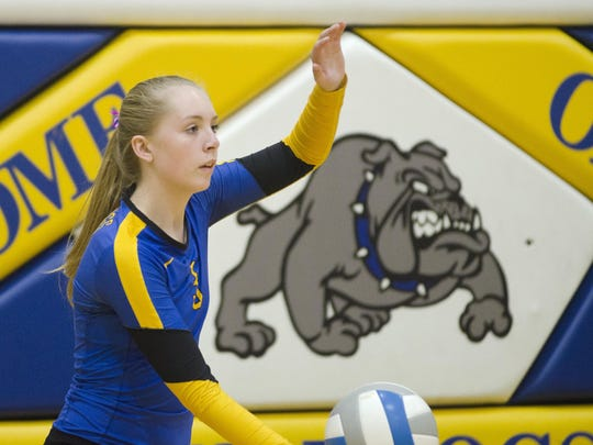 Shelby Dosch of Baltic prepares to serve the ball during a game in 2017.