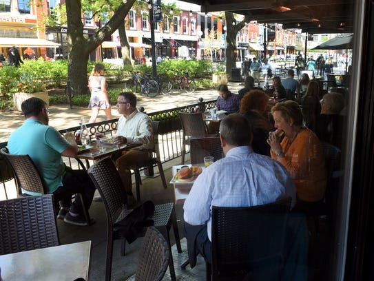 Lunchers at Cafe4 on Market Square Monday, April 4,