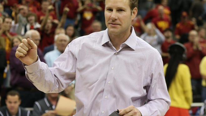 Iowa State head coach Fred Hoiberg celebrates during the Big 12 Championship title game between Iowa State and Kansas on Saturday, March 14, 2015, outside the Sprint Center in Kansas City, Missouri.