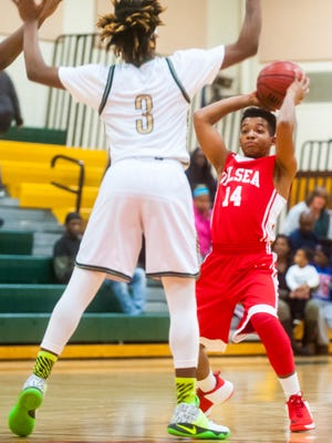 Delsea guard Kolby Braxton (14) looks to pass against Schalick on Tuesday, January 31 at Arthur P. Schalick High School.