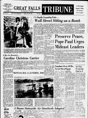 Front page of the Great Falls Tribune on Sunday, May 28, 1967.
